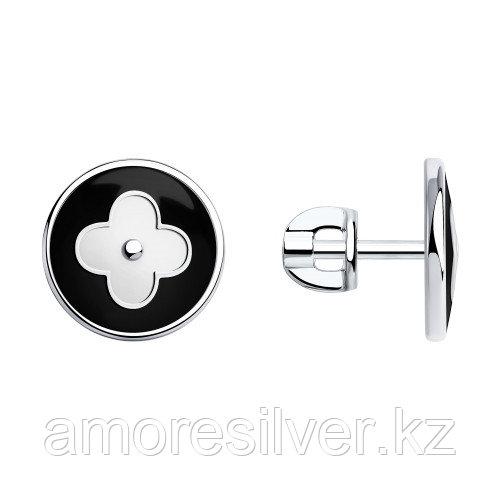 Серьги SOKOLOV серебро с родием, эмаль, флора 94-122-00370-1