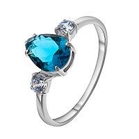"Кольцо TEOSA серебро с родием, кварц синт., ""halo"" 1101174-04295 размеры - 16,5"