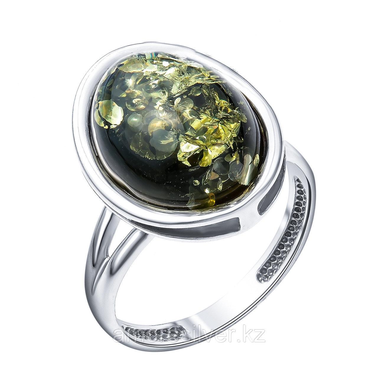 Кольцо  серебро с родием, янтарь зеленый 920011214aa размеры - 18
