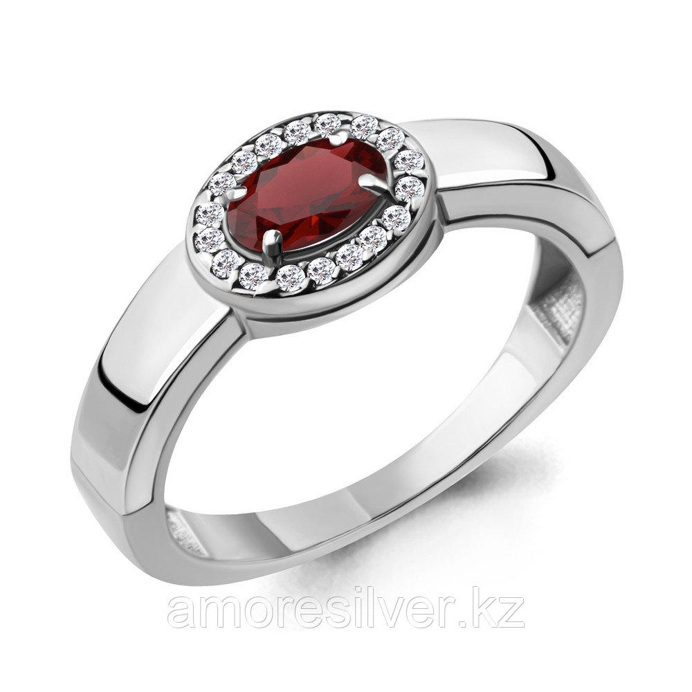 """Кольцо AQUAMARINE серебро с родием, гранат фианит, """"halo"""" 6911703А.5 размеры - 17"""