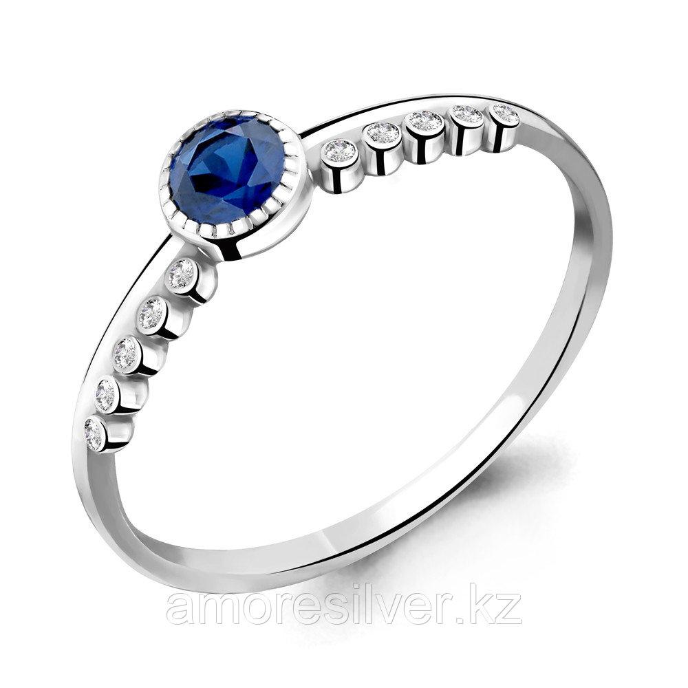 """Кольцо AQUAMARINE серебро с родием, нано сапфир фианит, """"halo"""" 68038Б.5 размеры - 16"""