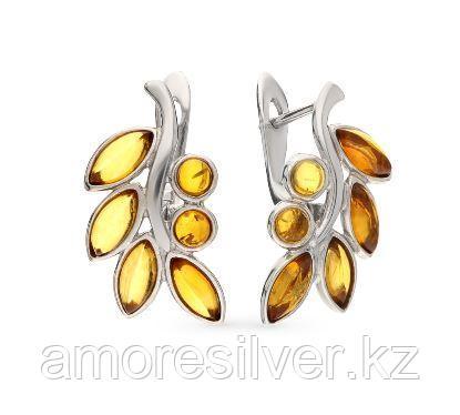 Серьги Darvin серебро с родием, янтарь коньячный, флора 929041018aa