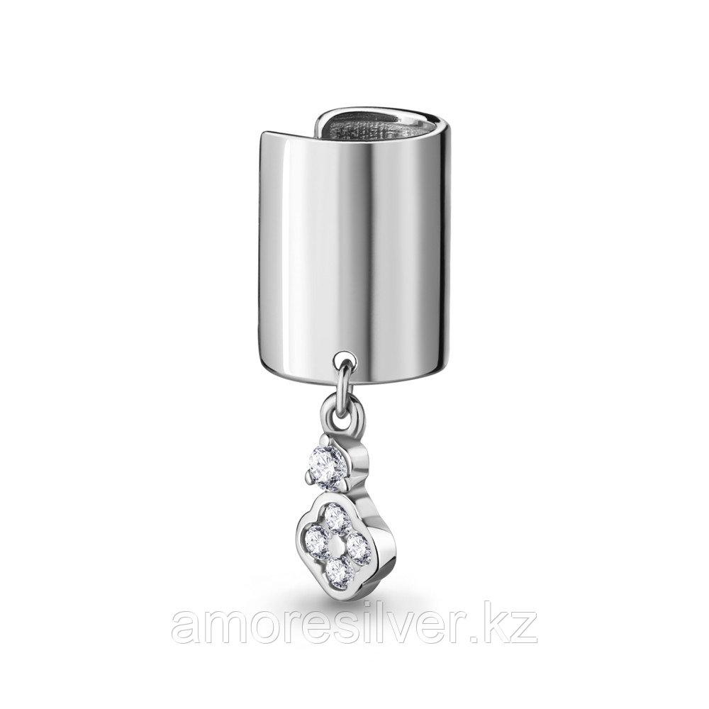 Серьги AQUAMARINE серебро с родием, фианит, , многокаменка 48803А.5