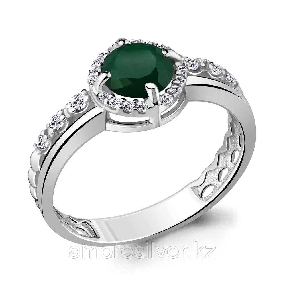 """Кольцо AQUAMARINE серебро с родием, агат зеленый фианит, """"halo"""" 6449209А.5 размеры - 17"""
