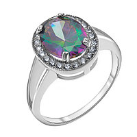 "Кольцо TEOSA серебро с родием, цирконий мистик, ""halo"" 100-585-CK размеры - 17,5"