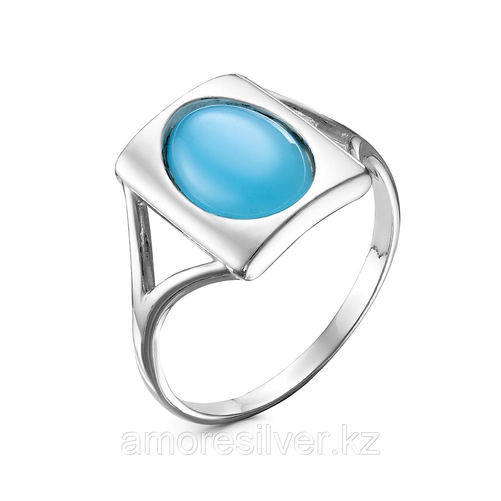Кольцо Красная пресня серебро с родием, агат голубой, овал 23610936Д3 размеры - 18,5