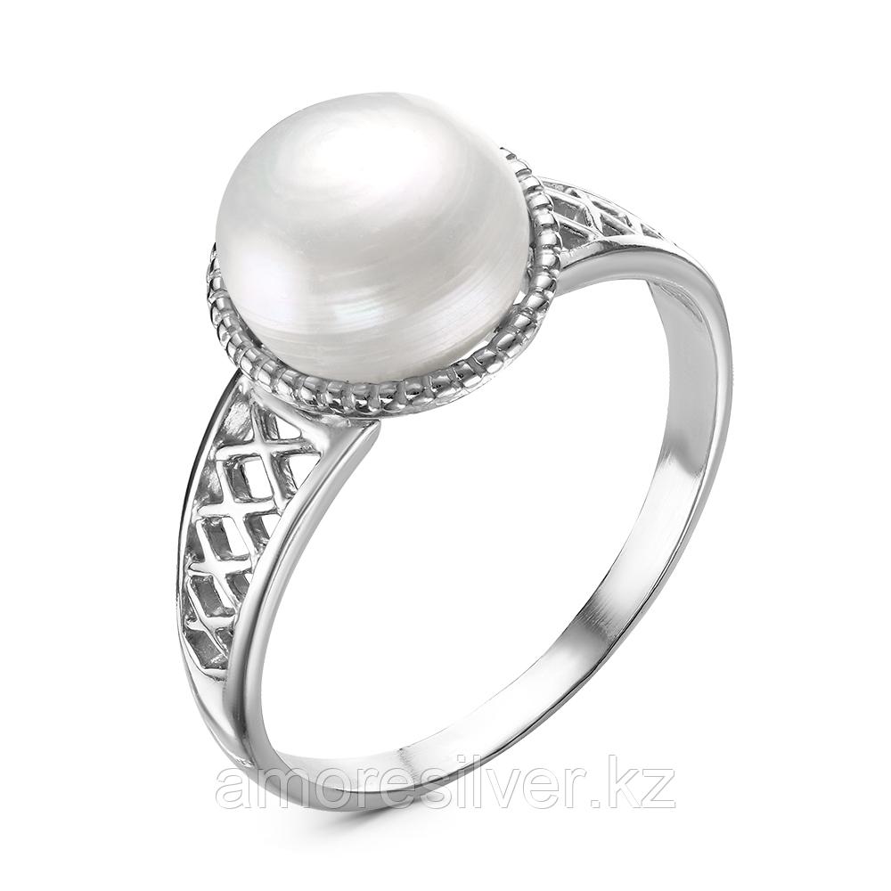 Кольцо Красная пресня серебро с родием, жемчуг культ., ажурное 23310476Д размеры - 18,5