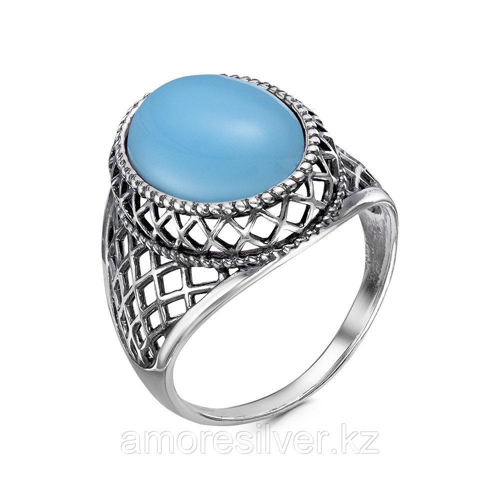 Кольцо Красная пресня , агат голубой иск., овал 23610972-3 размеры - 19,5
