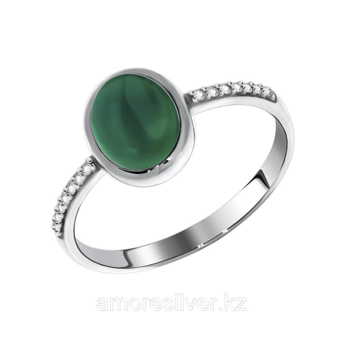 Кольцо Сидоровская ювелирная фабрика серебро с родием, агат зеленый фианит, круг 1340390368л-60 размеры - 17,5