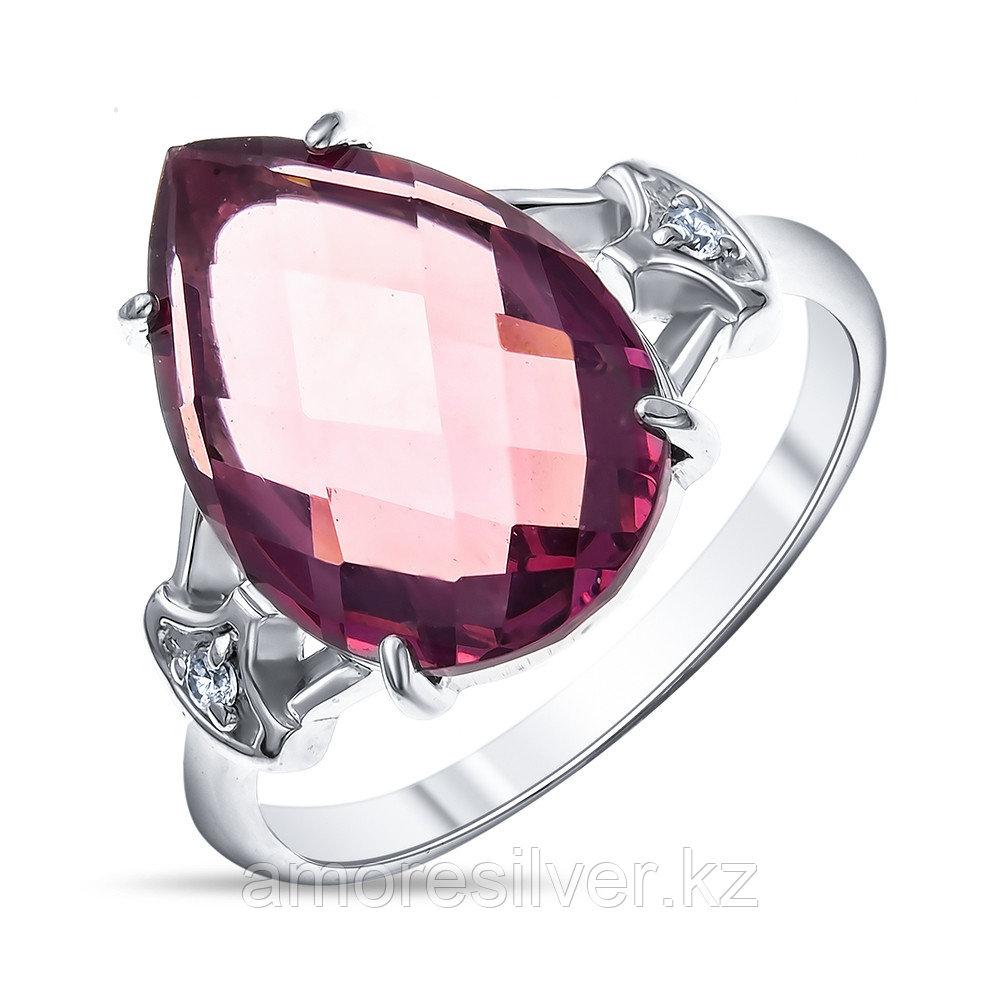 """Кольцо Алмаз-Групп серебро с родием, фианит родолит гт, """"halo"""" 11480299 размеры - 17"""