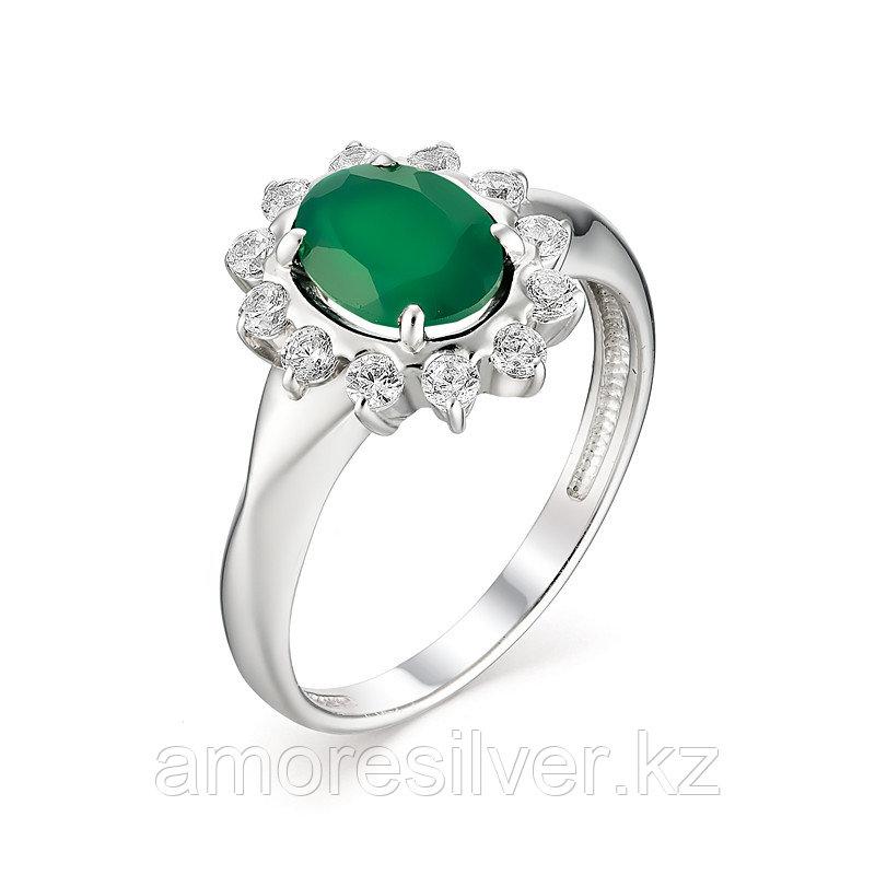 "Кольцо Алькор серебро с родием, агат зеленый, ""halo"" 01-1165/00АГ-00 размеры - 17 17,5"