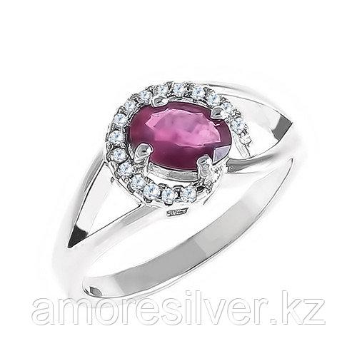 """Кольцо TEOSA серебро с родием, рубин фианит, """"halo"""" R-DRGR00498-RB"""