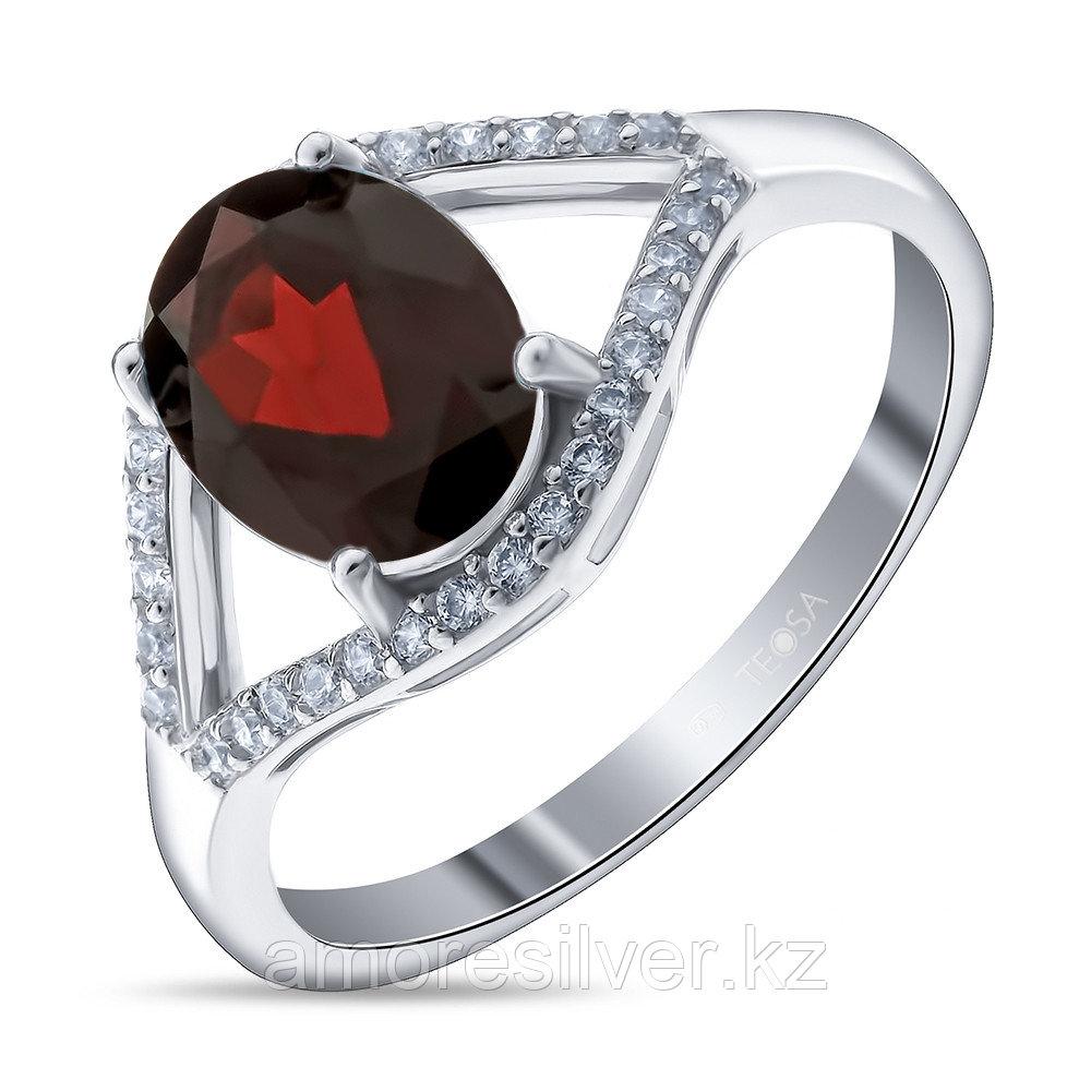 """Кольцо TEOSA серебро с родием, гранат фианит, """"halo"""" R-DRGR00620-GR"""