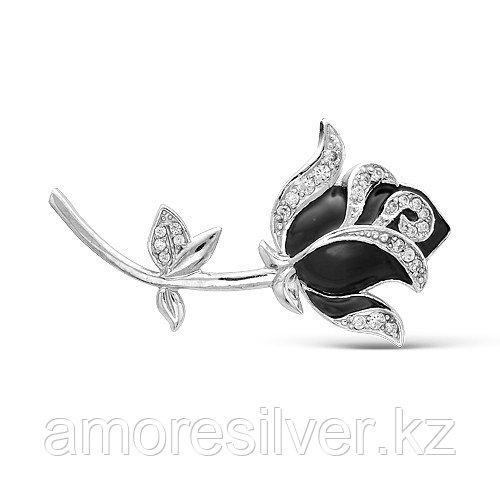 Брошь Красная пресня серебро с родием, фианит, замок-булавка, флора 1387806Д1