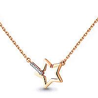 """Колье AQUAMARINE серебро с позолотой, фианит, """"звезда"""" 73584А.6 размеры - 45"""