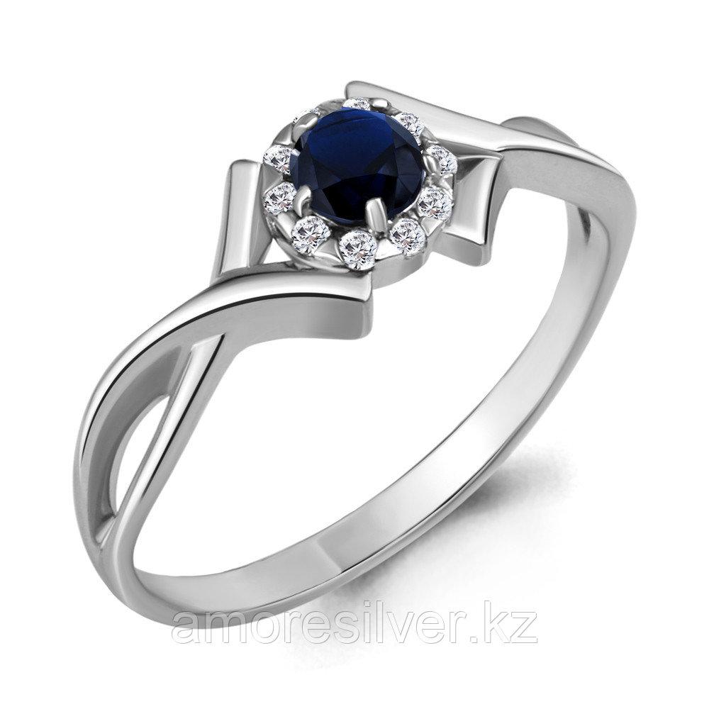 """Кольцо AQUAMARINE серебро с родием, нано сапфир фианит, """"halo"""" 68211Б.5 размеры - 17"""