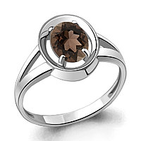 """Кольцо AQUAMARINE серебро с родием, кварц дымчатый , """"каратник"""" 6941901.5 размеры - 17"""