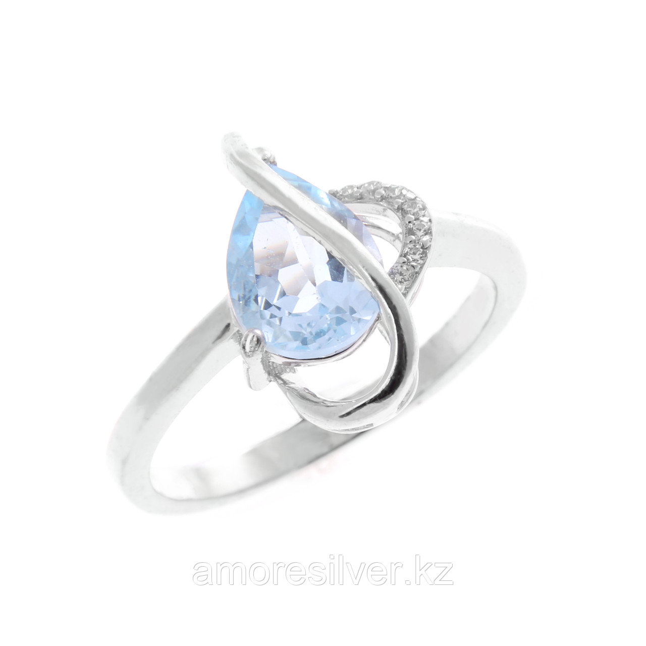 """Кольцо TEOSA серебро с родием, топаз фианит, """"каратник"""" R-DRGR00432-T"""
