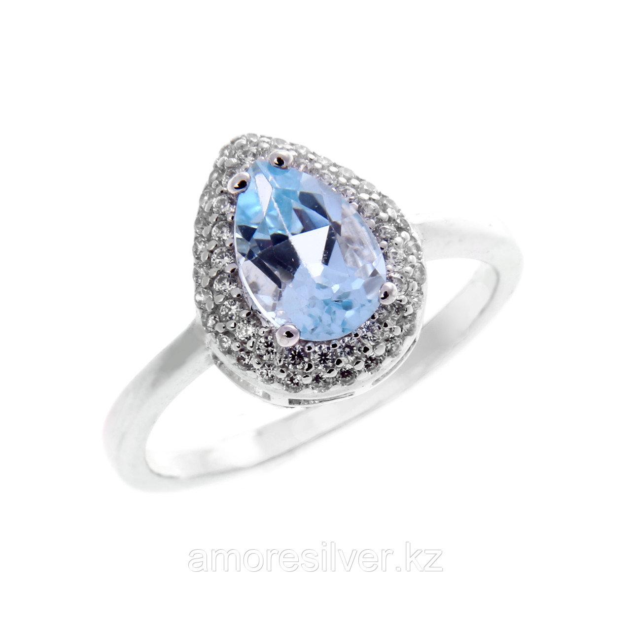 """Кольцо TEOSA серебро с родием, топаз фианит, """"halo"""" R-DRGR00476-T"""