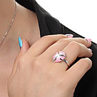 Кольцо TEOSA серебро с родием, фианит эмаль, флора R1278-CZE-RR-PW, фото 2
