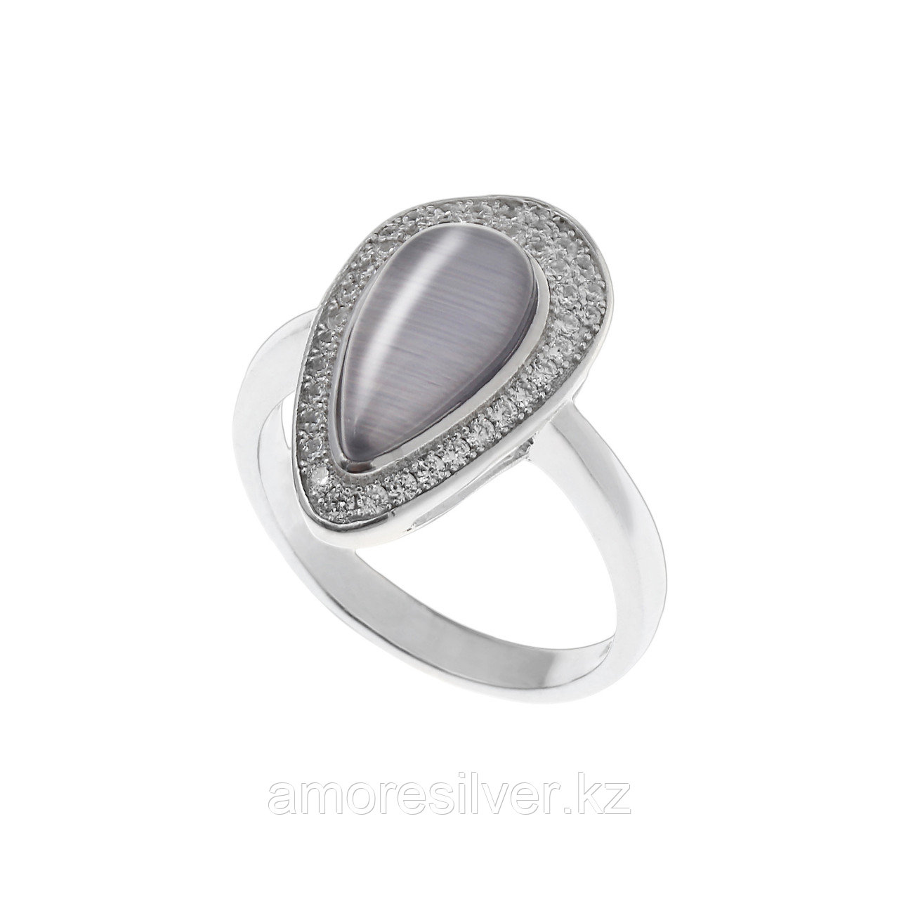 """Кольцо ЮК """"Серебро"""" серебро с родием, кошачий глаз фианит, капля SRCAS667-34-R"""