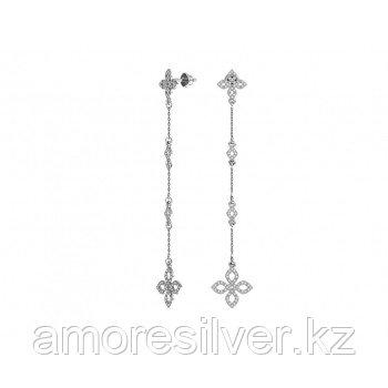Серьги Pokrovsky серебро с родием, фианит, пусеты, многокаменка 6120851-00775