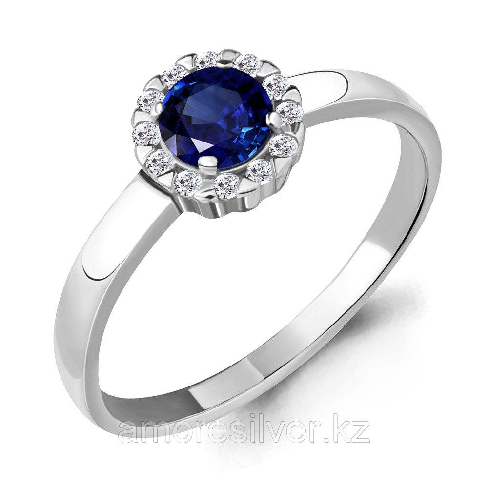 """Кольцо AQUAMARINE серебро с родием, нано сапфир фианит, """"halo"""" 68475АБ.5 размеры - 17"""