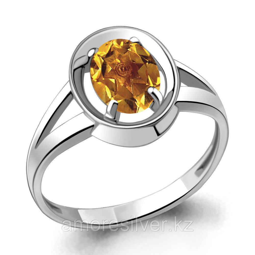 """Кольцо AQUAMARINE серебро с родием, цитрин, """"каратник"""" 6941906.5 размеры - 17,5"""