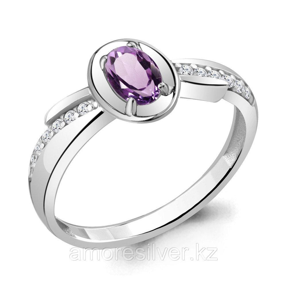 """Кольцо AQUAMARINE серебро с родием, аметист фианит, """"halo"""" 6942604А.5 размеры - 19"""