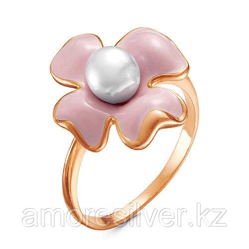 Кольцо Красная пресня серебро с позолотой, жемчуг имит., флора 2368643-2 размеры - 18,5