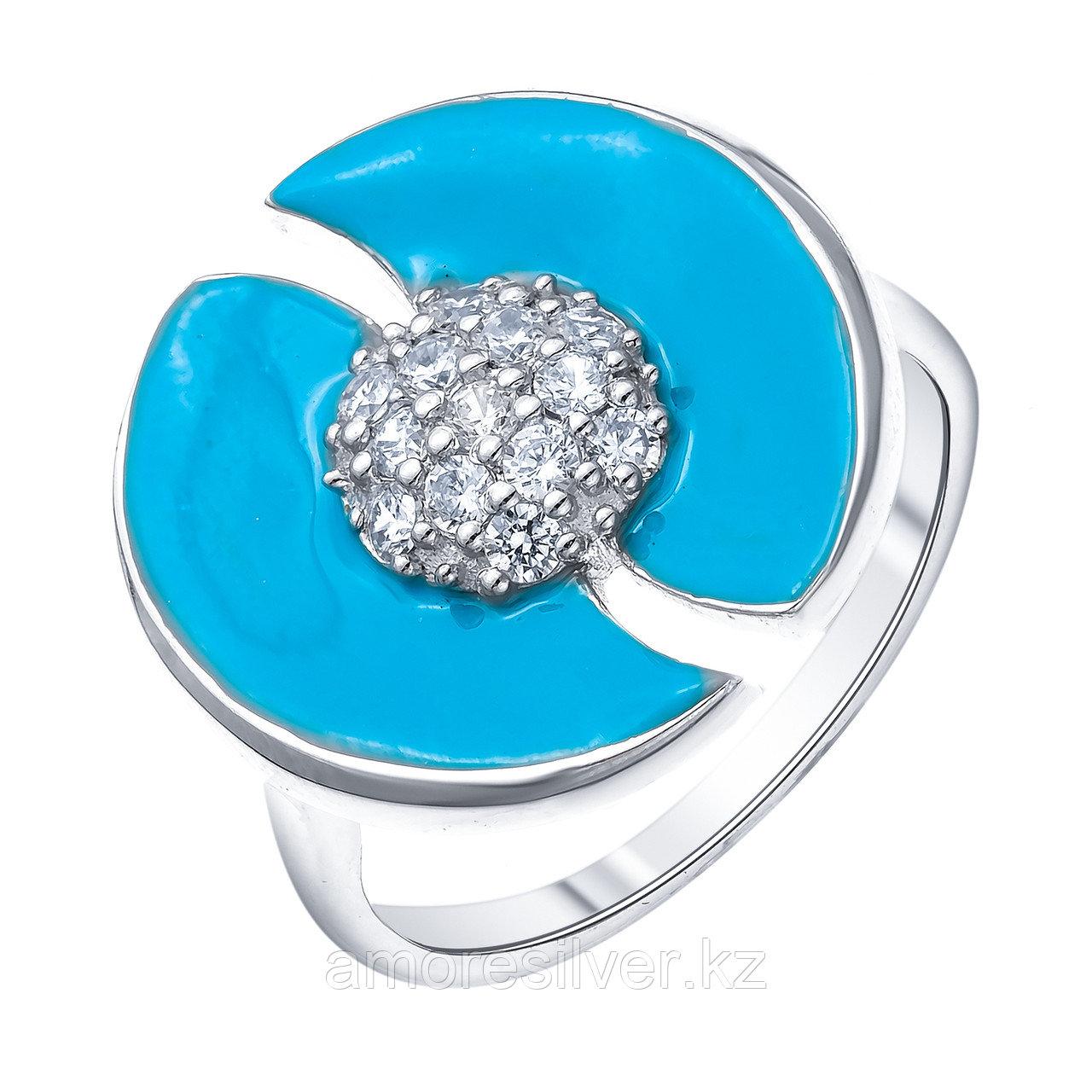 Кольцо TEOSA серебро с родием, фианит эмаль, круг R1410-CZS-RR-S размеры - 18
