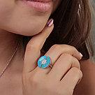 Кольцо TEOSA серебро с родием, фианит эмаль, круг R1410-CZS-RR-S размеры - 18, фото 2