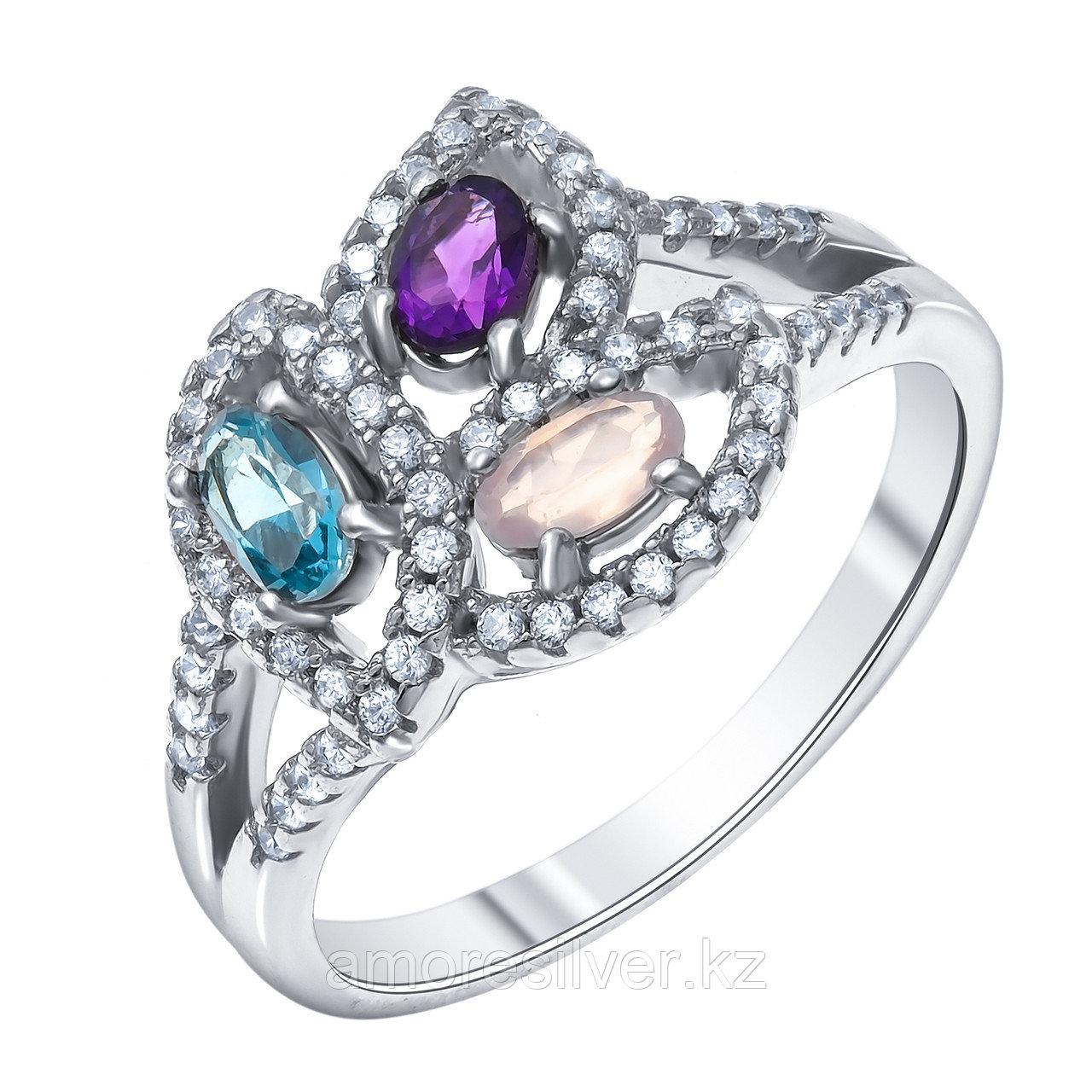 Кольцо TEOSA серебро с родием, аметист кварц розовый топаз фианит, флора R-DRGR00066-AM-QP-T