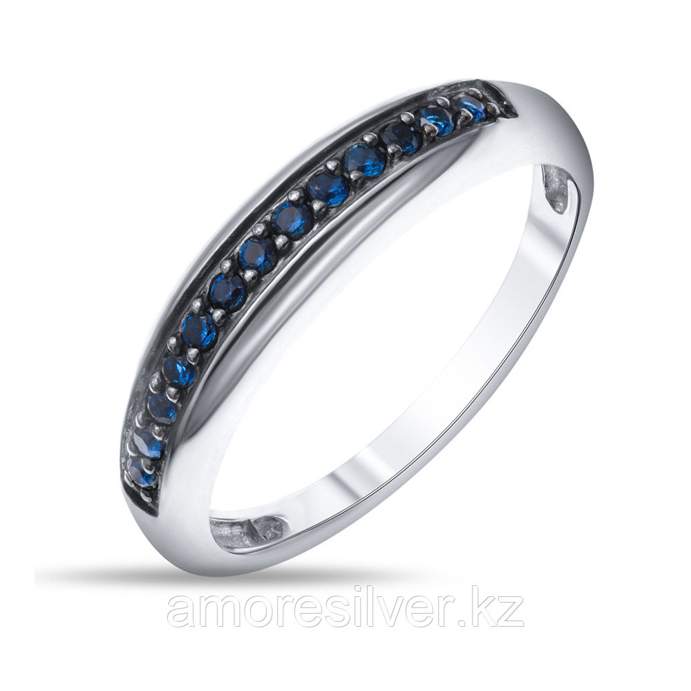 Кольцо Prestige серебро с родием, фианит цветной, дорожка 01002с