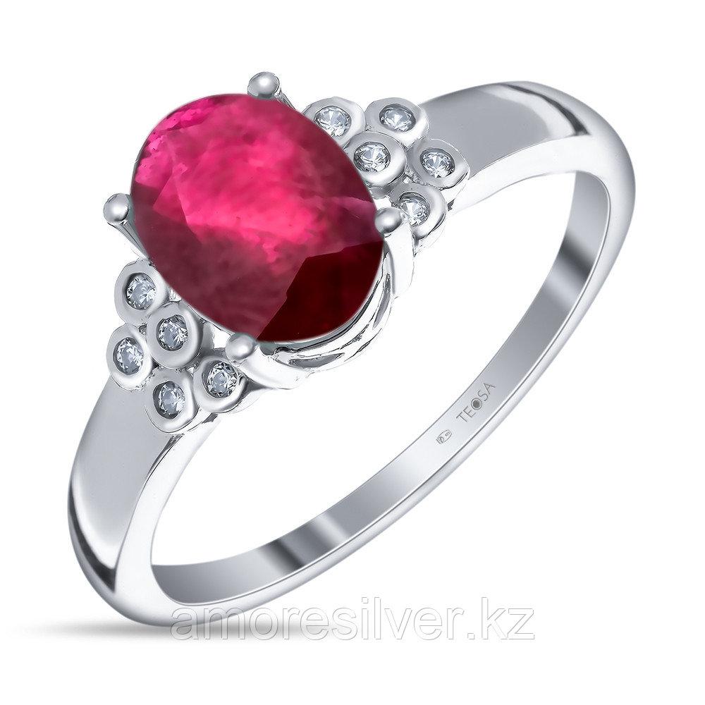 """Кольцо TEOSA серебро с родием, рубин фианит, """"halo"""" R-DRGR00719-RB"""