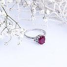 """Кольцо TEOSA серебро с родием, рубин фианит, """"halo"""" R-DRGR00719-RB, фото 2"""
