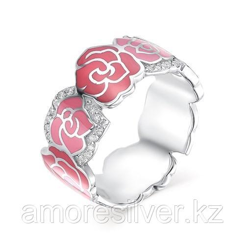 Кольцо Алькор серебро с родием, эмаль, флора 01-0449/ЭМ35-00