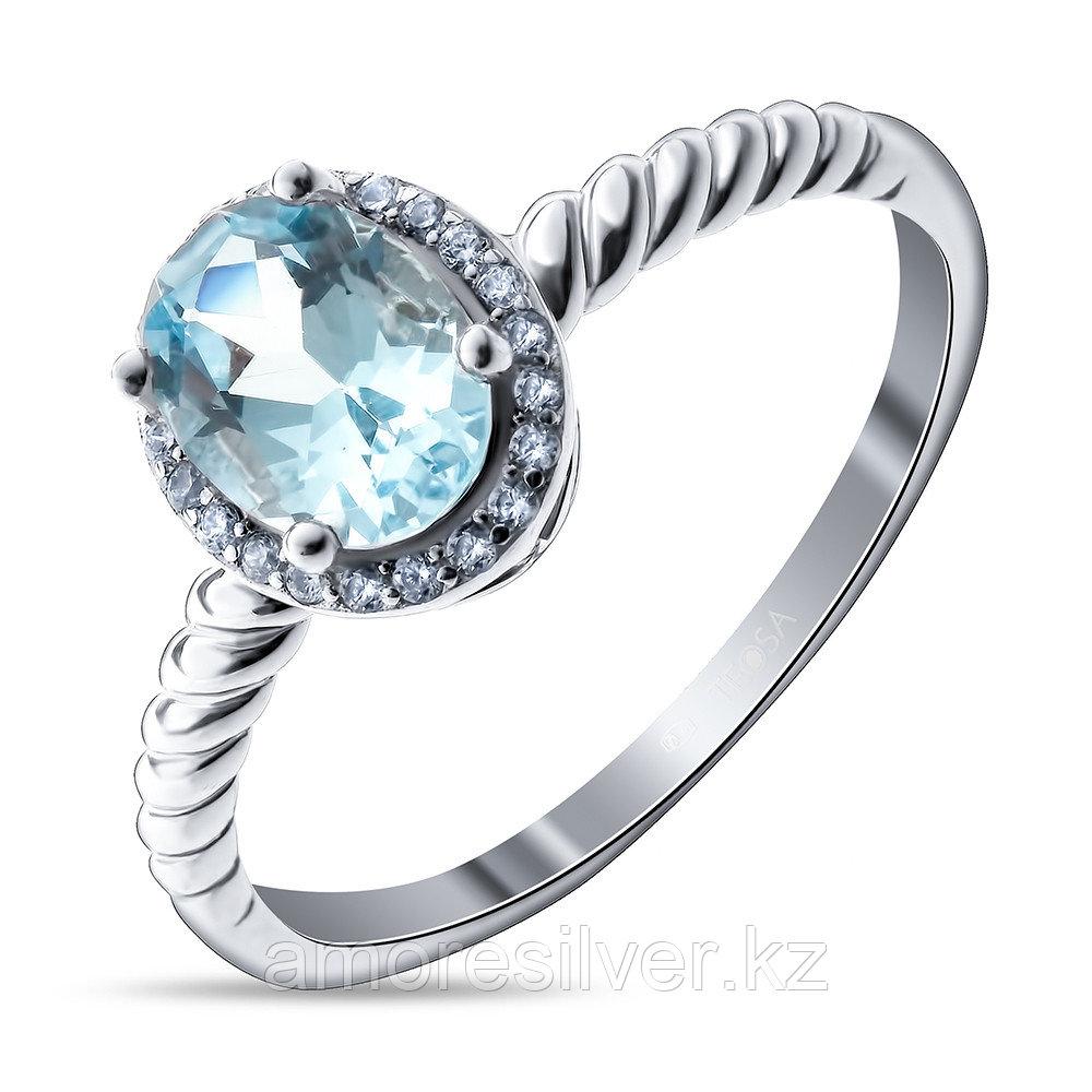"""Кольцо TEOSA серебро с родием, топаз фианит, """"halo"""" R-DRGR00622-T"""