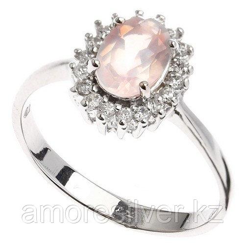 """Кольцо ЮК """"Серебро"""" серебро с родием, кварц розовый фианит, """"halo"""" KR100030-QP"""