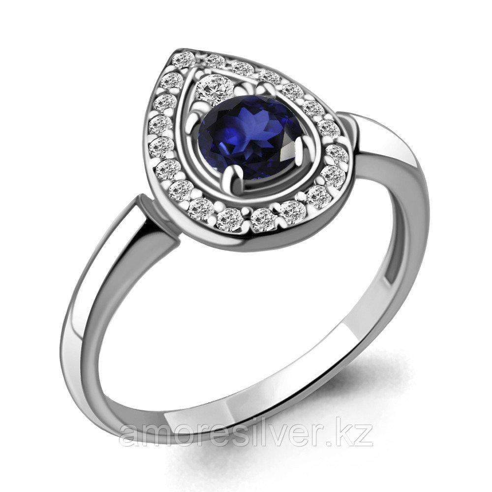 """Кольцо AQUAMARINE серебро с родием, нано сапфир фианит, """"halo"""" 68748АБ.5 размеры - 17"""