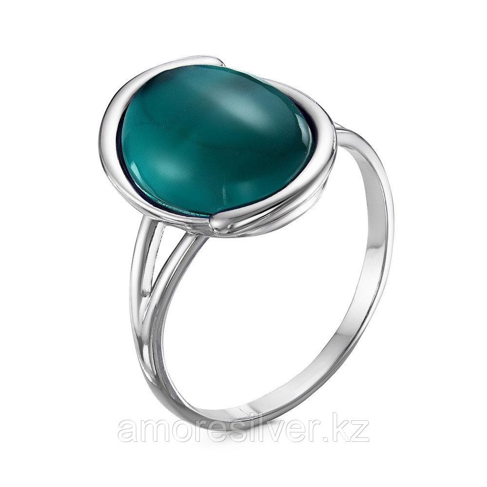 Кольцо Красная пресня серебро с родием, аквамарин иск., овал 23610312Д14 размеры - 18
