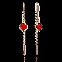 Серьги Darvin серебро с позолотой, янтарь коньячный, продевки, геометрия 92E042119bc