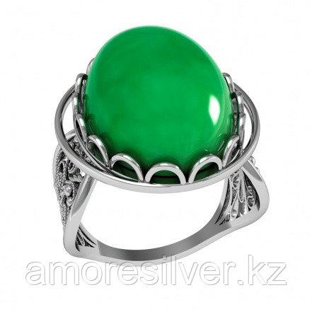 Кольцо Приволжский ювелир серебро с родием, нефрит синт.,  261912-GRS