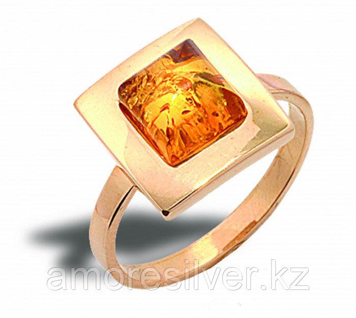 Кольцо Балтийское золото серебро с позолотой, янтарь,  51160203 размеры - 16,5