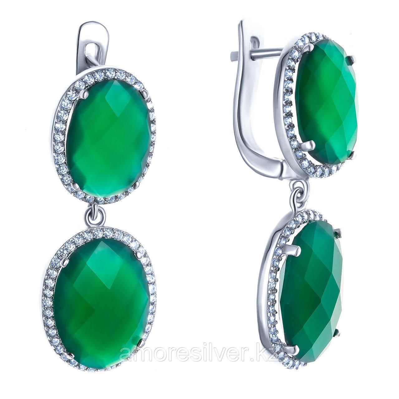 Серьги TEOSA серебро с родием, агат зеленый фианит, с английским замком, многокаменка E-DRGR00861-AG