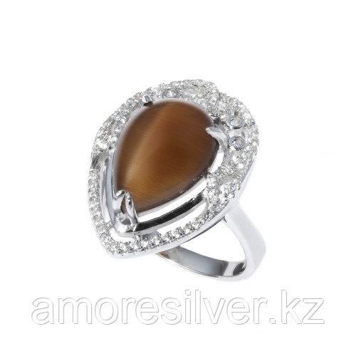 """Кольцо ЮК """"Серебро"""" серебро с родием, кошачий глаз фианит, капля SRCAS808-26-R"""
