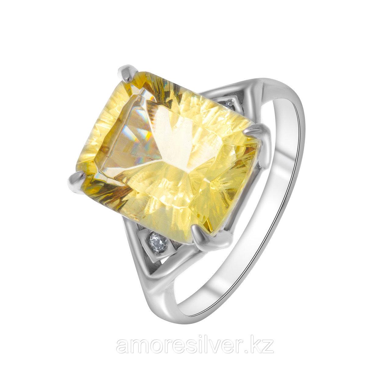 "Кольцо Алмаз-Групп серебро с родием, кварц пл. цитрин фианит, ""halo"" 11260087"