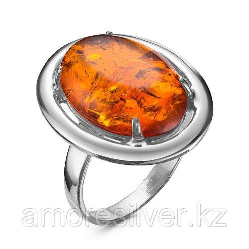 Кольцо Красная пресня серебро с родием, янтарь, овал 23310014Д