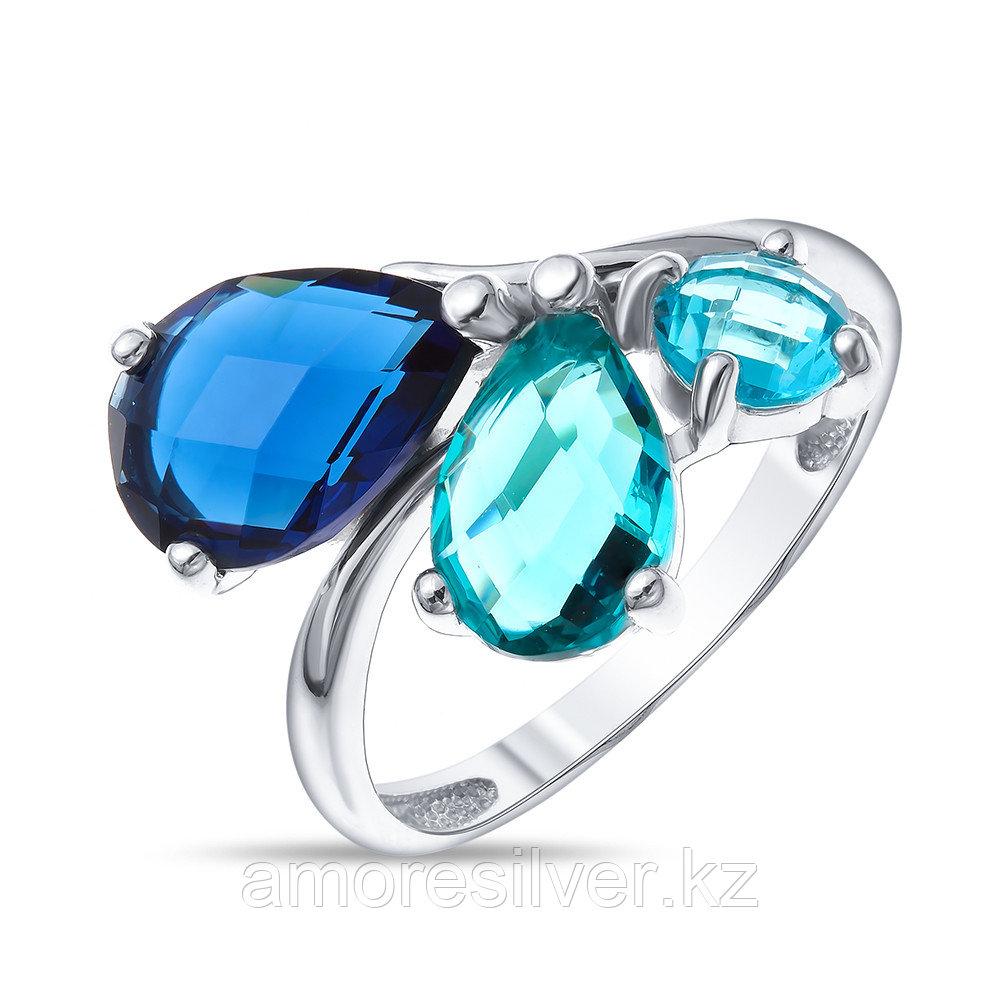 Кольцо Ювелирный завод Вероника серебро с родием, ювелирное стекло, многокаменка К630-858М3-SPC