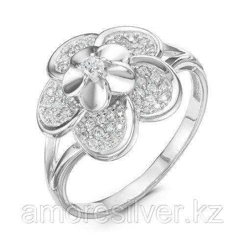Кольцо Delta серебро с родием, фианит, флора с115937